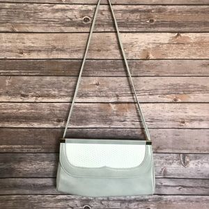 Gray and white front cover shoulder bag